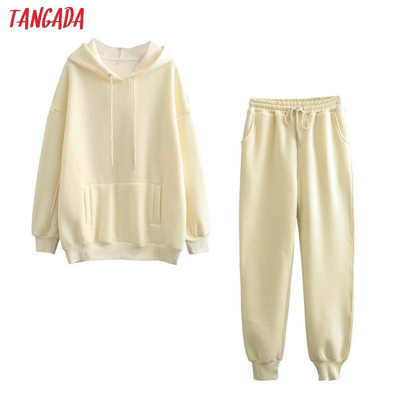 Tangada 2020 automne hiver femmes survêtement épais polaire 100% coton costume 2 pièces ensembles sweats à capuche sweat et pantalons costumes 6L17