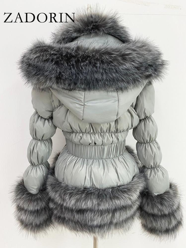ZADORIN-blouson d'hiver chaud détachable pour femmes, doudoune en duvet de canard blanc avec col en fausse fourrure, avec capuche, 2020