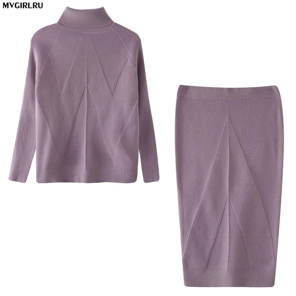 Mveminru femme tricot jupe Costume femme Costume pull + jupe mince deux pièces survêtement