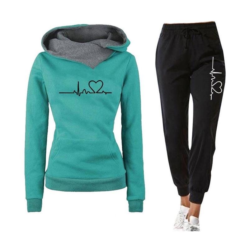 Décontracté deux pièces tenues pulls à capuche et taille élastique survêtement pantalon printemps automne survêtement femme costume femelle ensembles 2020