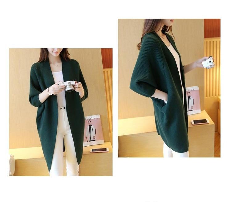 2020 Long Cardigan femmes chandail automne hiver manches chauve-souris tricoté pull de grande taille veste lâche dames chandails Cardigans 3XL