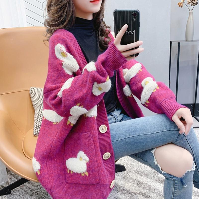 Automne hiver tricoté femme Cardigan lâche Streetwear tricot pull manteau mignon dessin animé impression col en V tricoté cardigan femmes veste