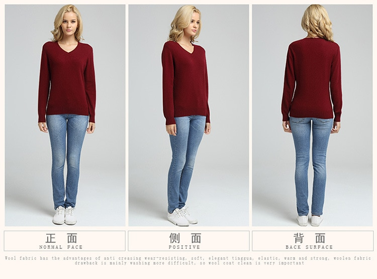 JVEII-pull tricoté pour femmes, pull et pull en cachemire à manches longues, col en v, pull Slim, automne hiver, collection décontracté