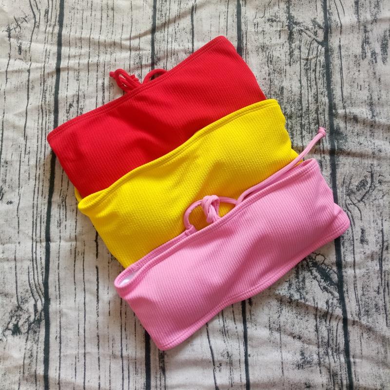 2019 solide Bikini brésilien Maillot De Bain femmes Bikini ensemble Sexy épaules nues maillots De Bain Femme natation Biquini Maillot De Bain Femme