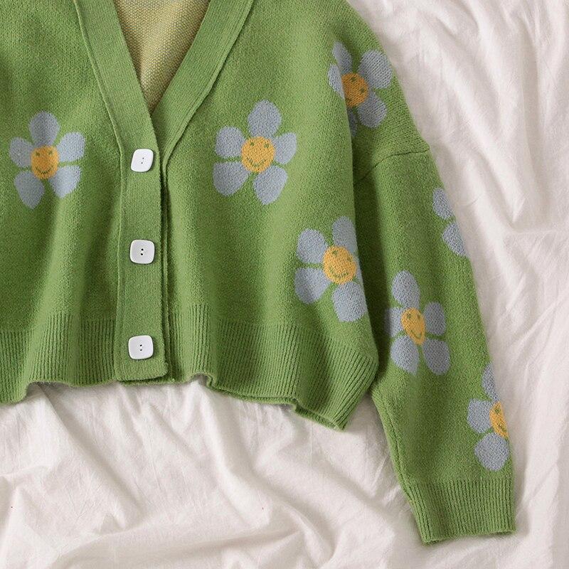 Cardigans Style Preppy en tricot fleuri pour femmes, col en V, ample, élégant, Pull court, imprimé, décontracté