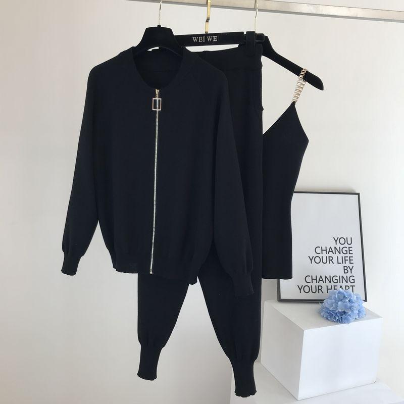 2020 nouveau 3 pièces costume à tricoter à manches longues veste zippée Cardigans débardeur pantalon femmes mode solide salon ensemble survêtements décontracté és