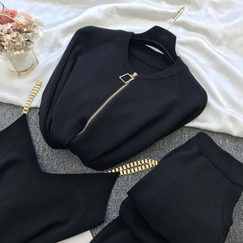 Femmes fermeture éclair tricoté Cardigans chandails + pantalons ensembles + gilet femme mode pulls pantalon 2 pièces Costumes tenue