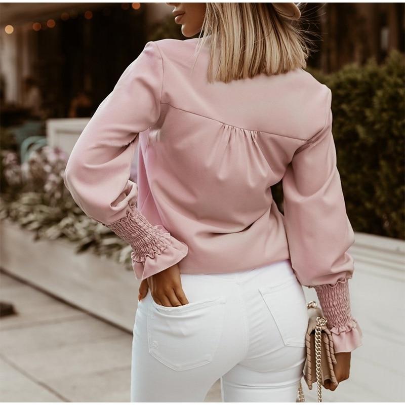 Volants à pois imprimé femmes Blouses automne simple boutonnage à manches longues femme Blouse 2021 élégant bureau dames hauts vêtements