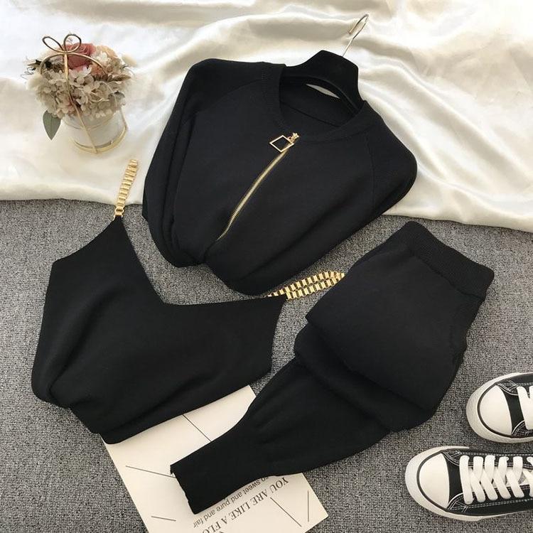 2020 automne tricoté pull costume décontracté nouveau produit tempérament chaîne gilet tricoté veste + pantalon élastique trois pièces ensembles TZ423