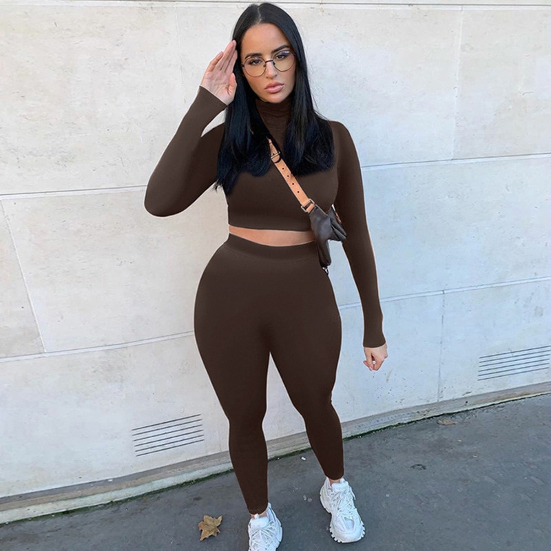 2020 hiver femmes Sport Fitness 2 deux pièces ensemble tenues à manches longues récolte hauts t-shirt Leggings pantalon ensemble moulante survêtement