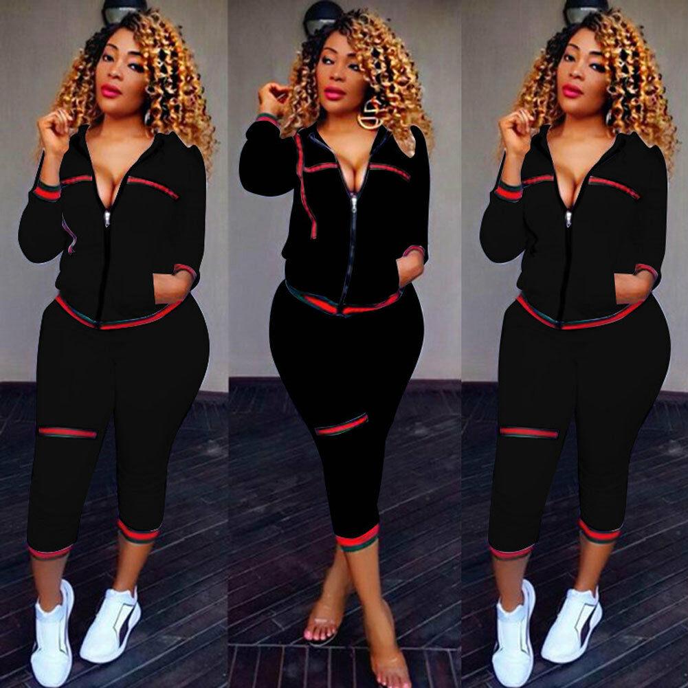 2020 automne femmes vêtements de sport 2 pièces femmes à capuche à manches longues fermeture éclair culture hauts pantalons pantalons amples ensemble de vêtements décontractés