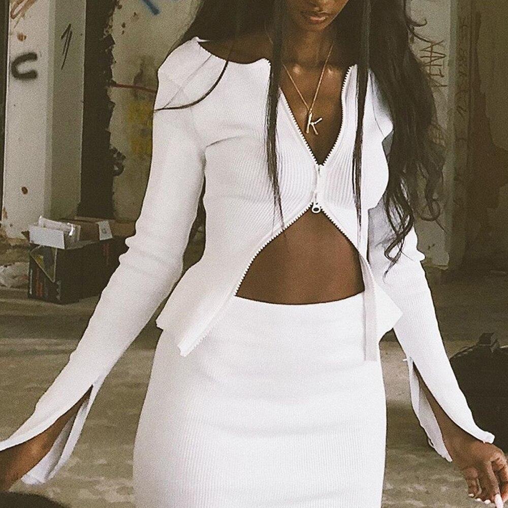 2019 nouvelles femmes automne Double fermetures à glissière chandails veste mince tricot solide manteau Cardigan pull Outwear court automne chaud doux
