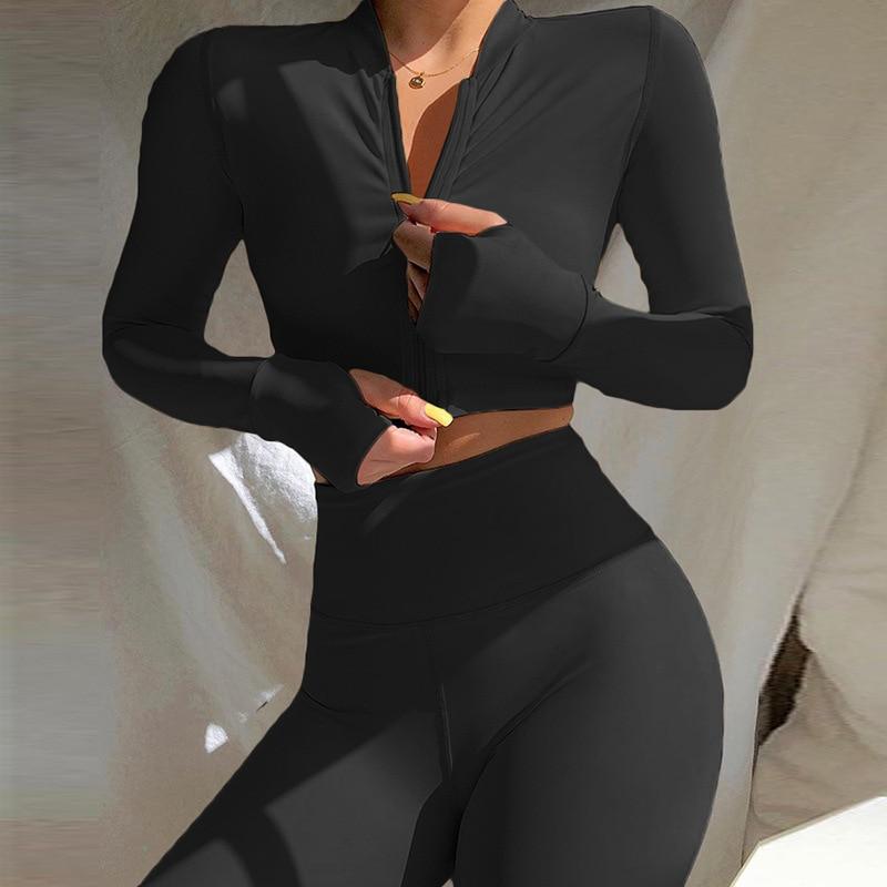2020 hiver femmes 2 deux pièces ensemble à manches longues récolte hauts t-shirt Leggings pantalon ensemble moulante Sport Fitness survêtement