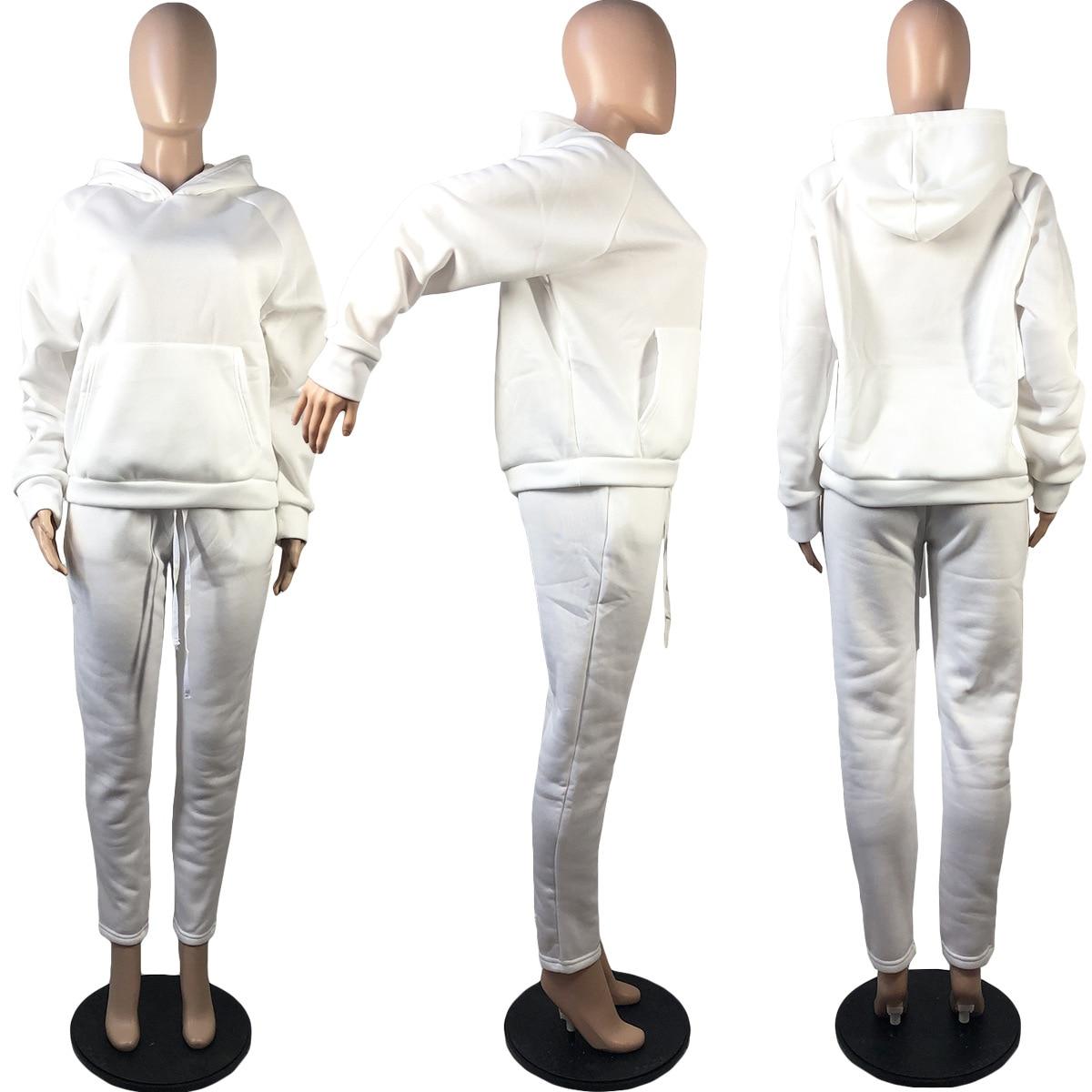 2020 hiver deux pièces ensemble femmes polaire à manches longues haut à capuche sweat-shirts pantalons de survêtement Jogging Femme sweats à capuche survêtements