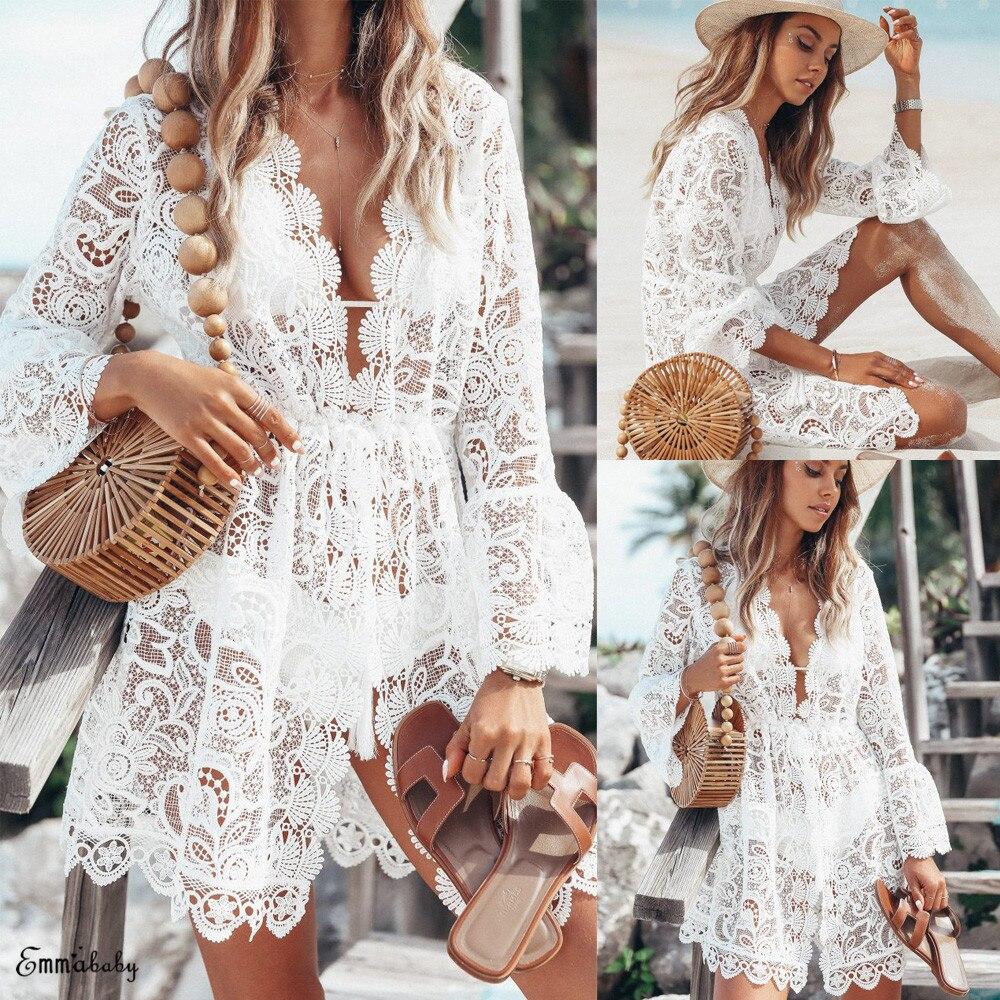 2020 nouveau été femmes Bikini couvrir dentelle florale creux Crochet maillot de bain couvertures maillot de bain maillots de bain tunique plage robe chaude