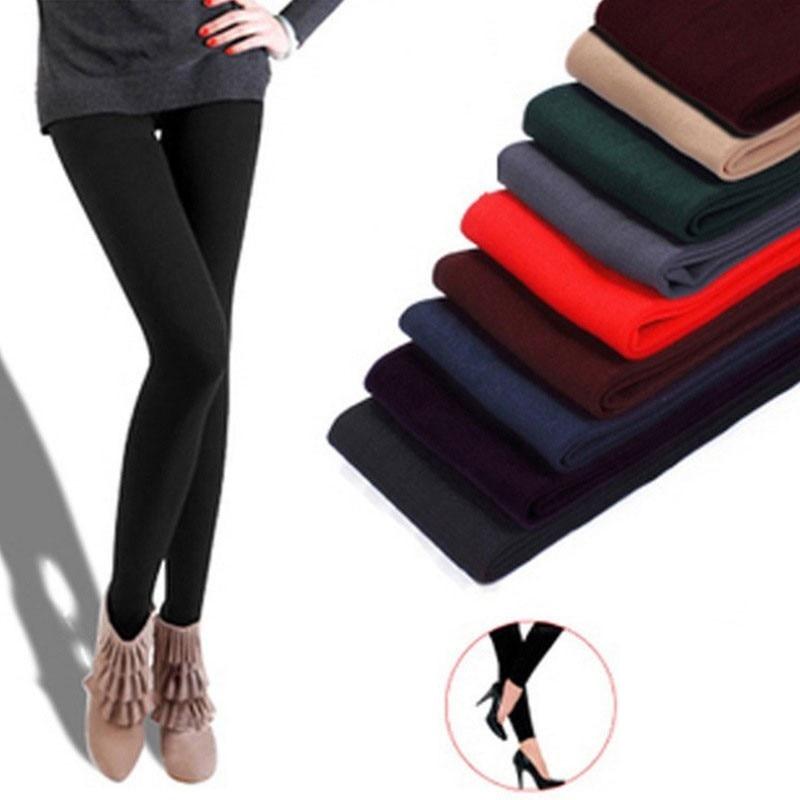 2020 automne hiver femme épais chaud leggings couleur bonbon brossé charbon Stretch polaire pantalon piétiner pieds Leggings