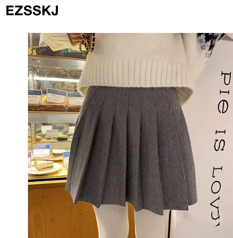 2020 automne hiver a-ligne épais court pull jupe femmes bonne qualité mignon plissé mini jupe femme élégant tricot jupe