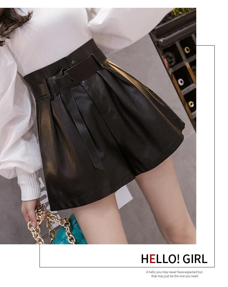 2020 nouveau automne hiver noir PU Faux cuir Shorts pour femme ceintures taille haute jambe large Shorts élégant femme solide pantalon