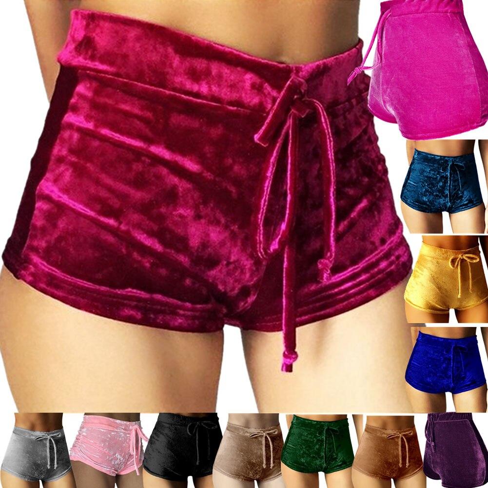 2019 femmes rose velours Shorts mode Sexy moulante entraînement flanelle pantalons courts Feminino pantalons Mujer Fitness doux vêtements de sport