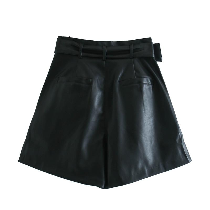 2020 hiver nouvelles femmes couleur Orange Bermuda en simili cuir ceinturé Shorts