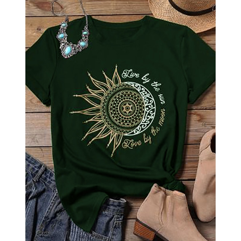 2020 femmes décontracté mode t-shirt lettre soleil lune imprimer ample col rond manches courtes élastique étiré t-shirt été hauts nouveau