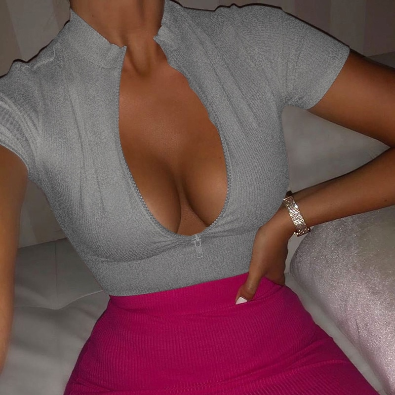 2019 nouvelle Mode Slim Fit T-Shirt À Fermeture Éclair Femmes Bustier Hauts Corset Col Haut Femmes Croped Tops T-shirt Chemise Unie Blanc