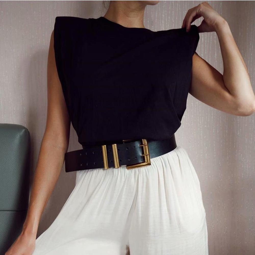2020 d'été femmes nouveau design sens niche tendance épaulière profil gilet t-shirt couleur unie sauvage lâche lâche haut de taille slim