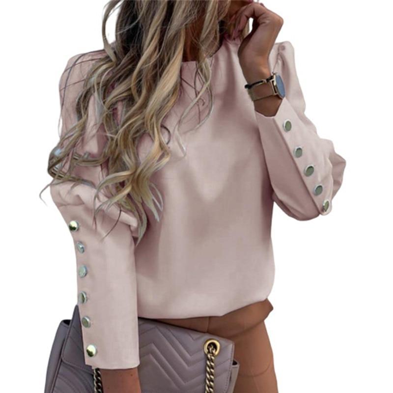 2020 coton femmes printemps O cou pull à manches longues t-shirt loisirs lâches boutons feminina t-shirt femme hauts grande taille S-5XL