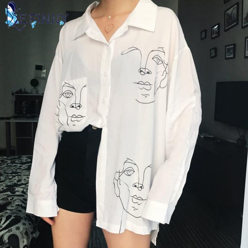 2020 nouveau été Blouse chemise femme coton visage impression à manches longues chemises haut pour femme dames vêtements