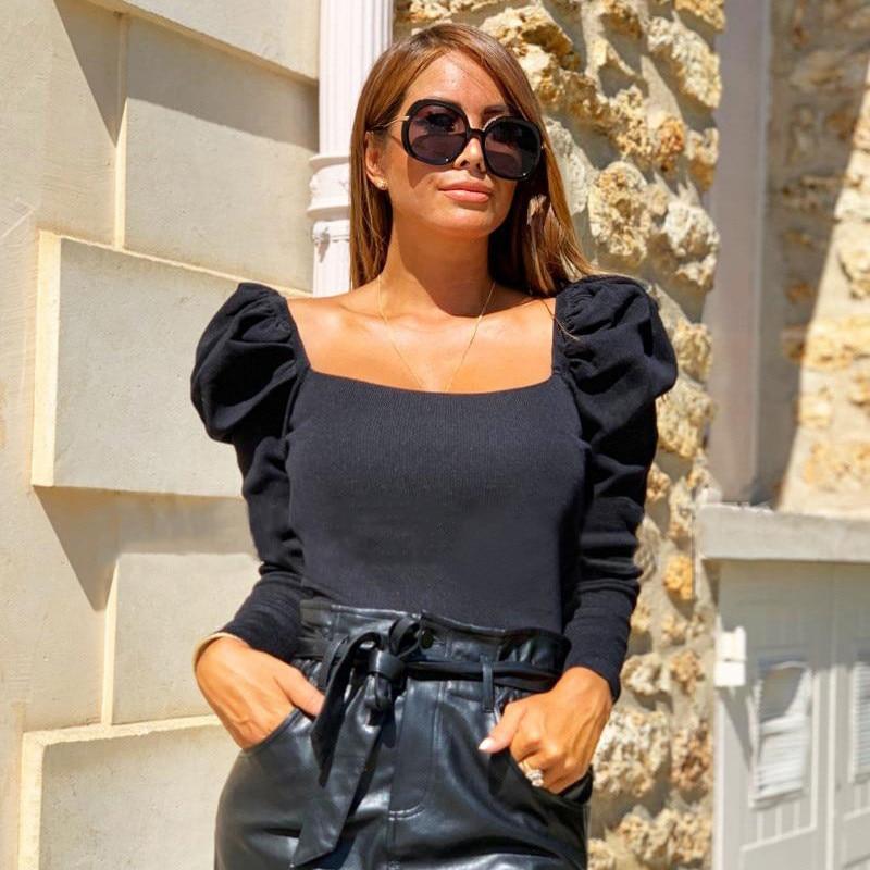 2019 rétro femmes automne chemises couleur unie manches bouffantes col carré Slim Blouses hauts mode dames nu ventre chemise de fond