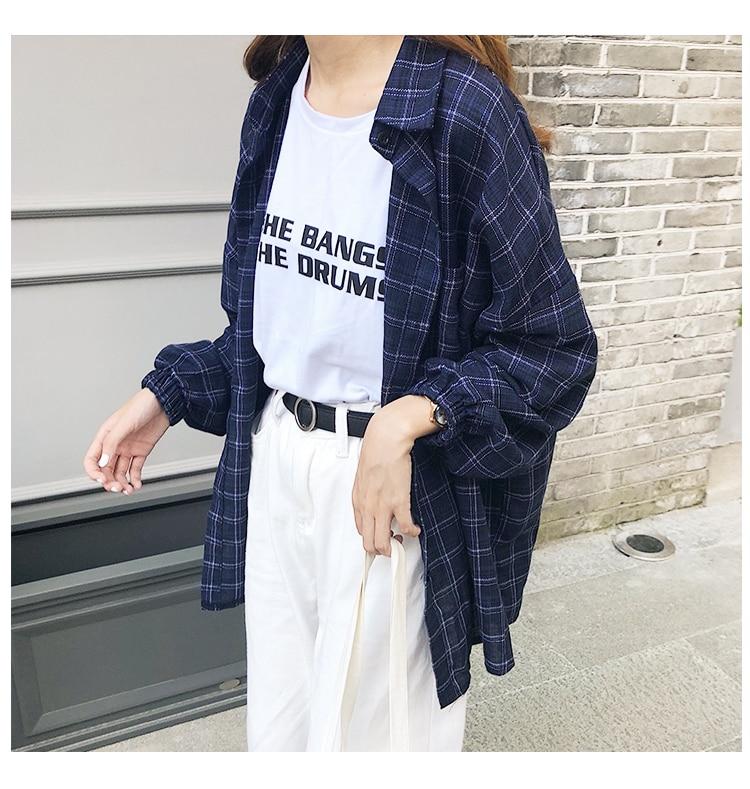 2019 nouvelle femme Vent Vintage chemise à carreaux simple boutonnage col rabattu coton à manches longues bouton Feminina ventes T8D512Z