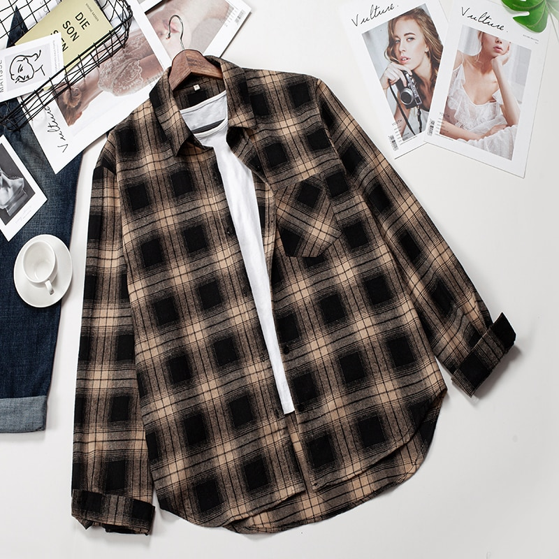 2020 chemises à carreaux femmes haut et Blouses à manches longues surdimensionné coton dames décontracté Blusas une poche ample femme chemise à carreaux