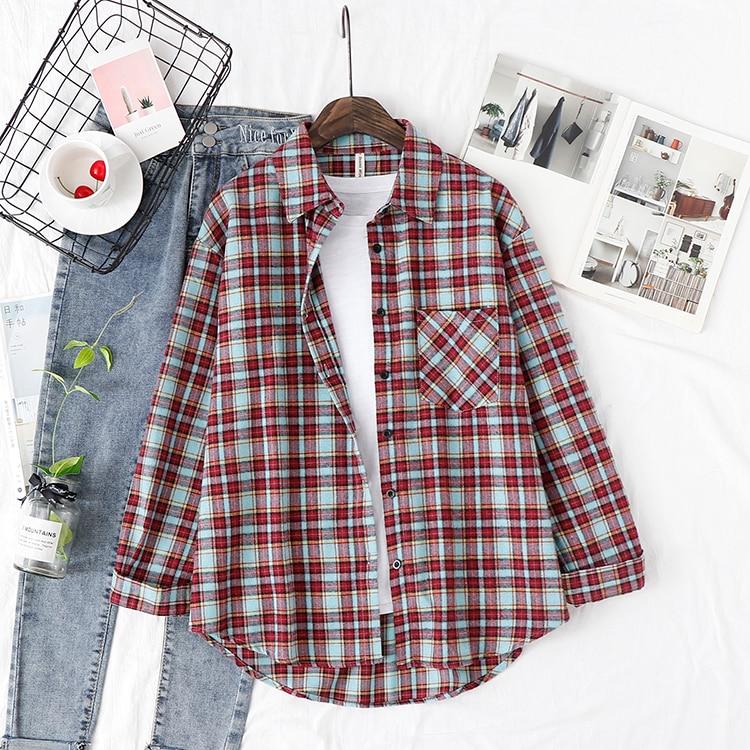 2020 mode femmes chemise à carreaux Chic à carreaux Blouse à manches longues femme décontracté impression chemises couverture en coton ample Blusas