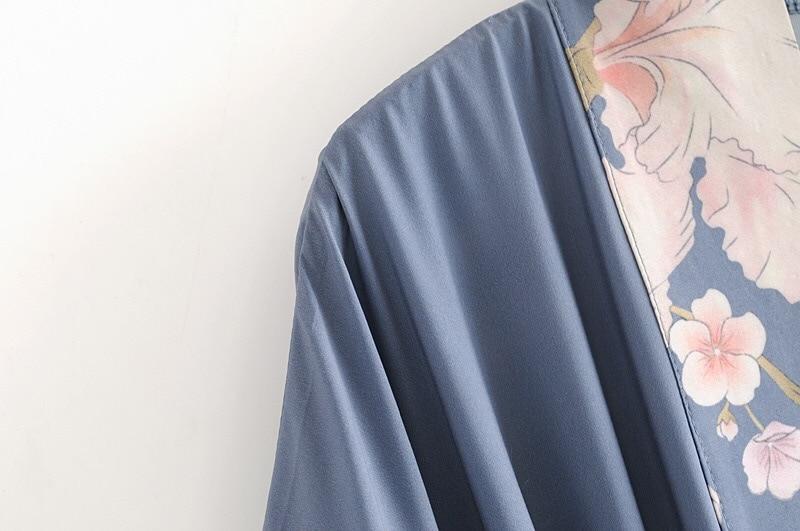 2019 bohème col en V paon fleur imprimé Long Kimono chemise ethnique nouveau laçage up ceintures Long Cardigan lâche Blouse hauts femme