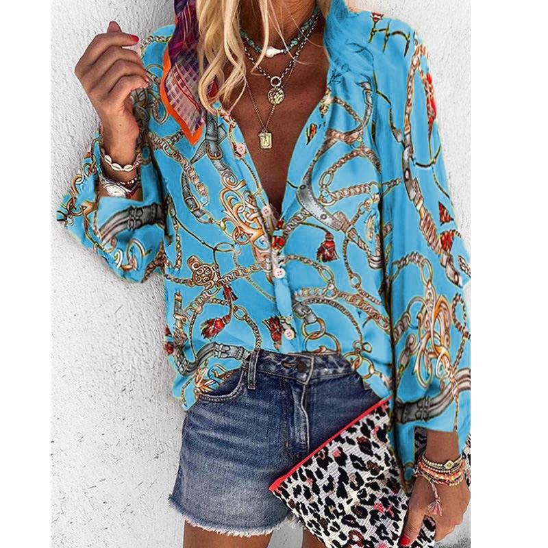 2020 nouveau Design grande taille femmes Blouse col en v à manches longues chaînes imprimer chemises décontractées en vrac femmes hauts et chemisiers