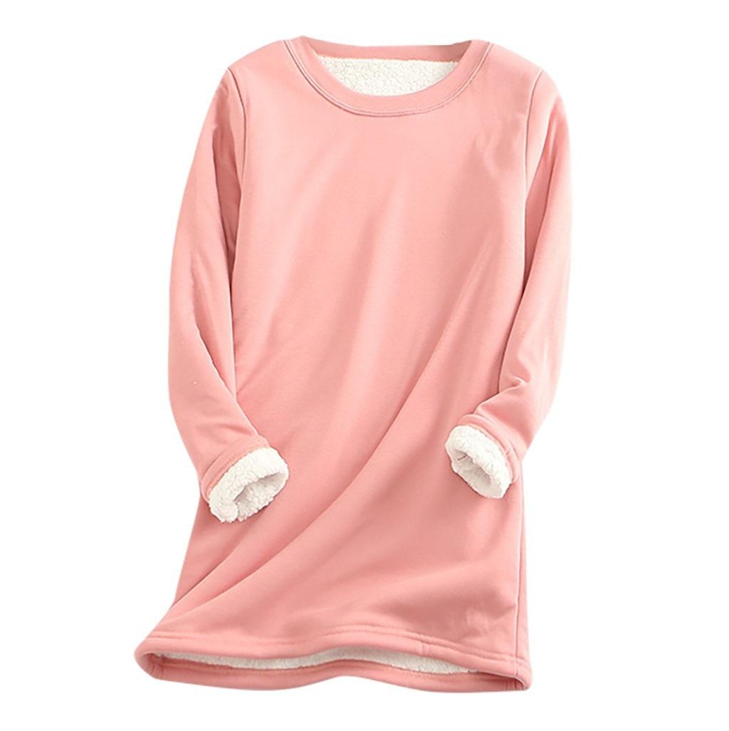 2020 hiver femmes épais polaire sweat velours chaud solide col rond sous-vêtements Blouse hauts
