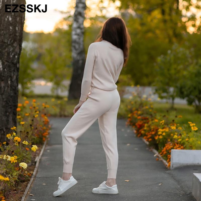 2020 2 pièces ensemble femmes tricoté survêtement col roulé pull + carotte Jogging pantalon pull pull ensemble CHIC tricoté Outwear