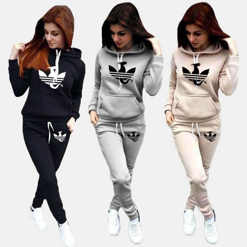 2020 décontracté femmes survêtements 2 pièces ensemble sweats à capuche pantalons sport costumes femme sweat Conjunto Feminino Ropa Mujer S-4XL