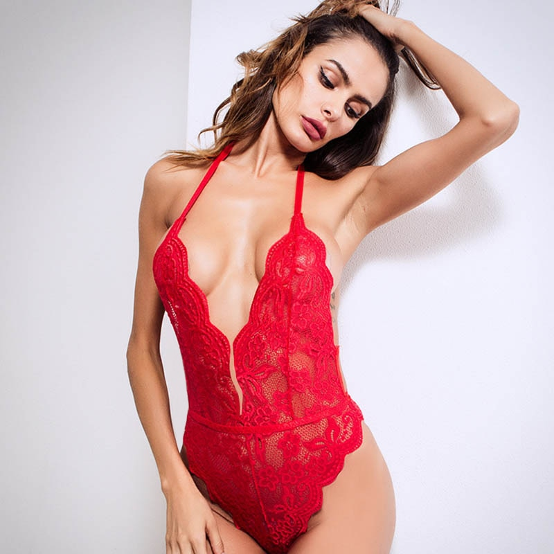 2020 grande taille femmes ouvert entrejambe licou dentelle Body Transparent Femme corps chaud Sexy combinaison femmes profonde V pure Sexy Body