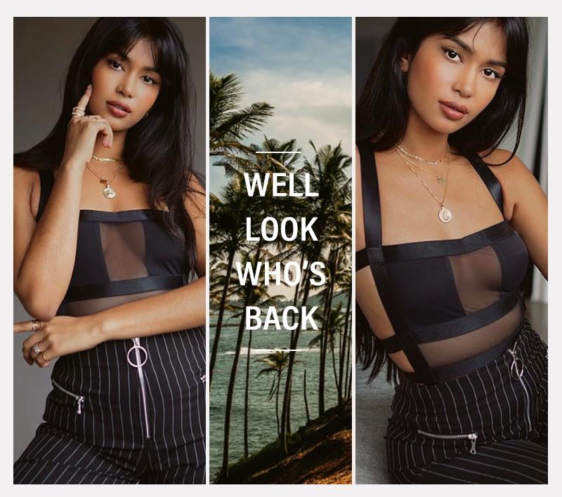 2020 été femmes maille Sexy Body automne décontracté creux sangle moulante noir fête Club Body hauts pour les femmes