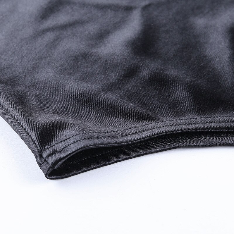 2020 femmes Sexy décontracté tache col roulé à manches longues bouffantes body hauts noir côtelé femme mode fête courte barboteuse body