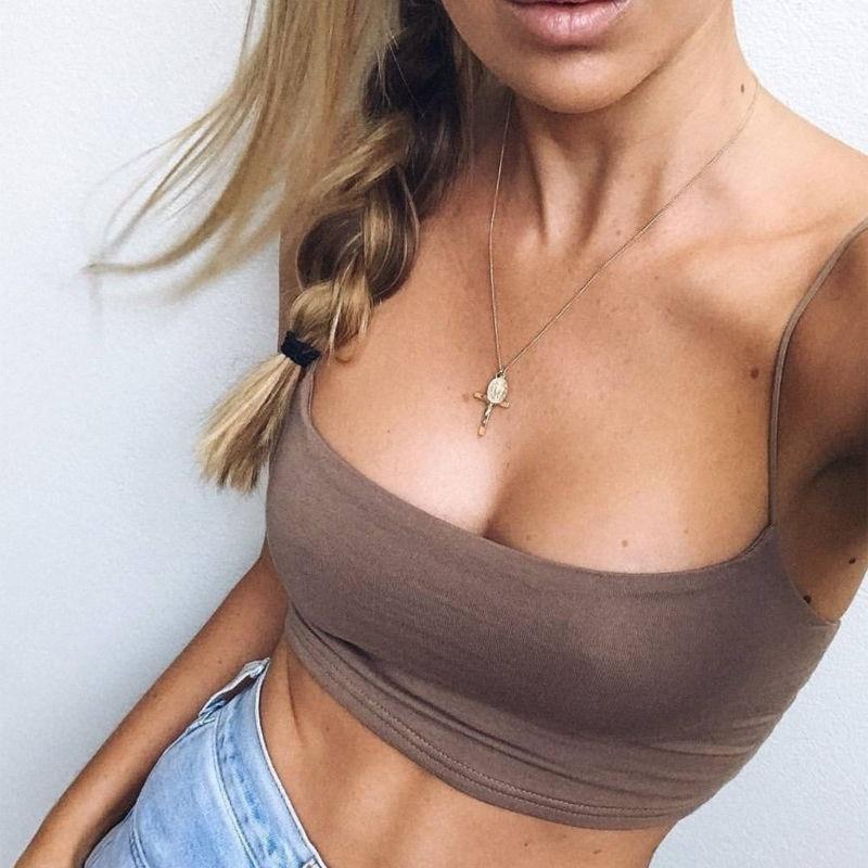 2019 nouveau mode femmes Sexy Crop hauts solide été Camis femmes décontracté débardeur hauts gilet sans manches Crop hauts blusas