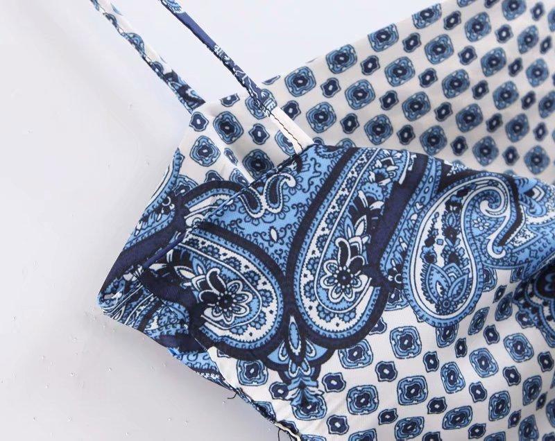 2019 nouveau femmes vintage paislry imprimé spaghetti sangle sexy chic camis réservoir dames été dos nu bowknot fronde hauts LS3866