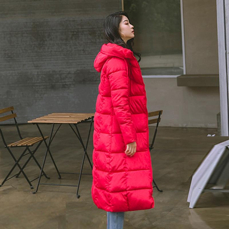 2019 Hiver femmes veste x-long à capuche coton rembourré Femme Manteau haute qualité vêtements d'extérieur chauds femmes Parka Manteau Femme Hiver