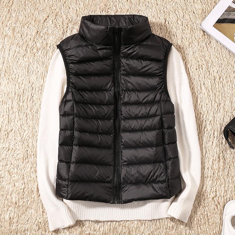 2020 nouveau femmes 90% blanc canard vers le bas gilet femmes Ultra léger canard vers le bas gilet veste automne hiver col haut sans manches manteau