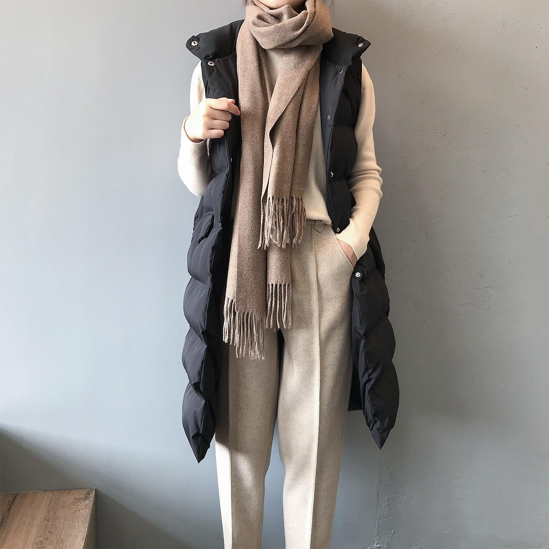 2019 femmes hiver Gilet manteau col montant femmes Long Gilet chaud haut pour femme Gilet Chaleco Mujer Gilet Casaco Feminino