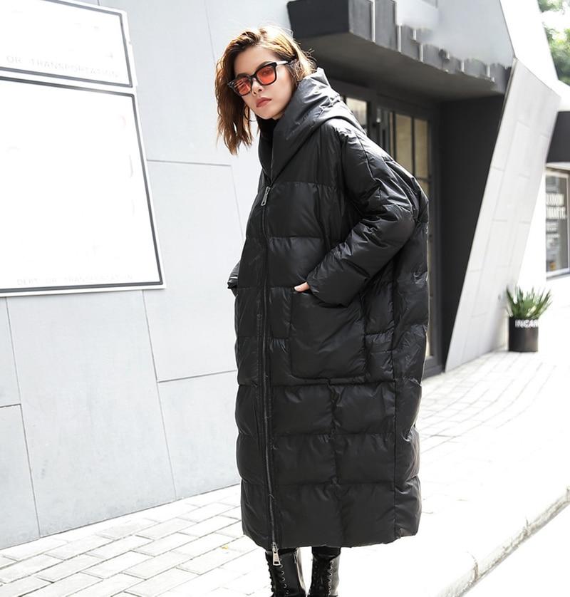 [EAM] 2021 nouveau hiver à capuche à manches longues couleur unie noir coton rembourré chaud ample grande taille veste femmes parkas mode JD12101