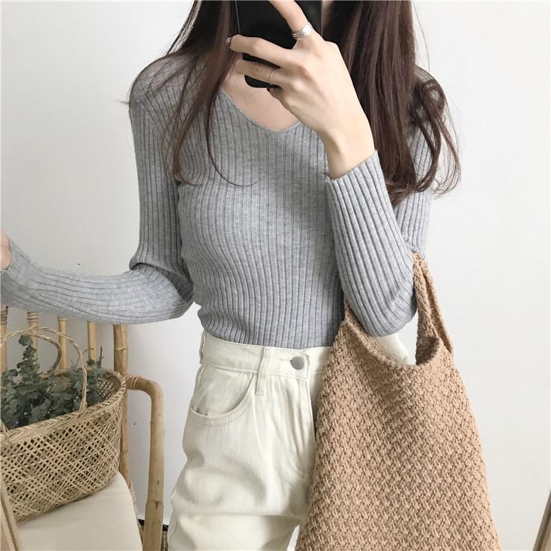 2020 basique col en v solide automne hiver pull pull femmes femme tricoté pull mince à manches longues badycon pull pas cher