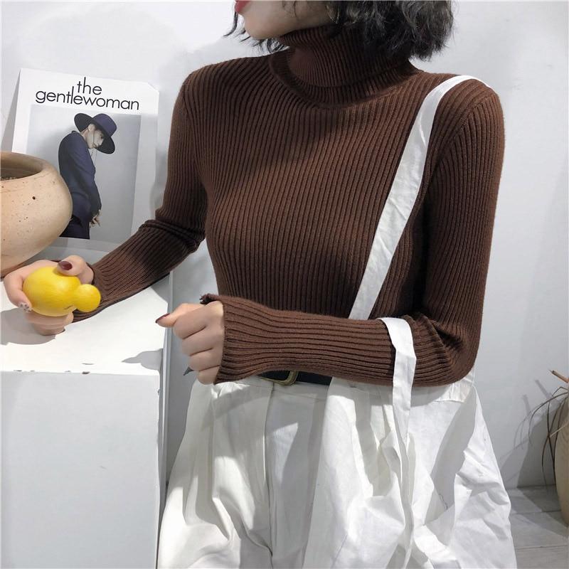 2020 automne hiver marron chandails femmes blanc tricoté Pull à manches longues col roulé mince Pull doux chaud Pull Femme col rouler femme pulls femme automne hiver Nouveaux vêtements pour femmes du printemps 2021