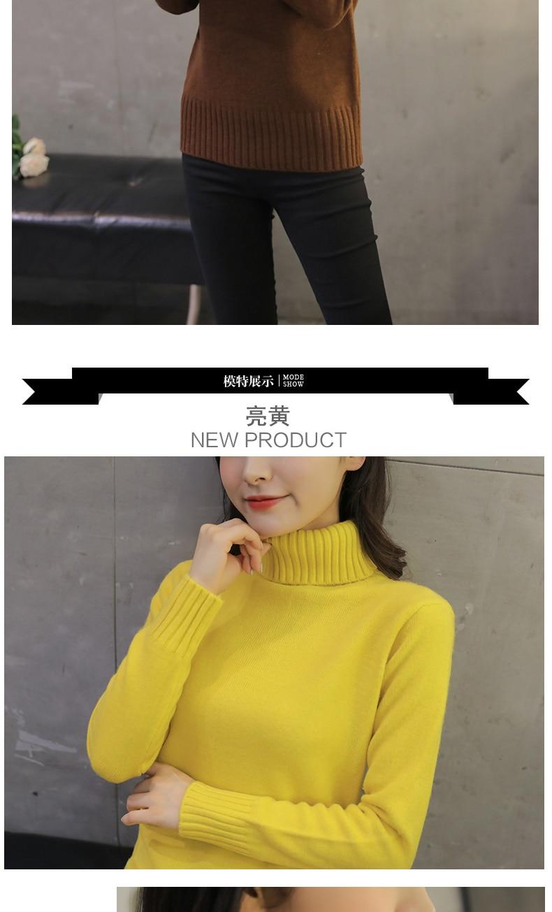 2020 nouveau automne hiver femmes chandails tricotés pulls col roulé à manches longues couleur unie mince élastique court pull femmes